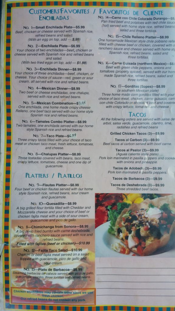 El Patio Mexican Restaurant Menu