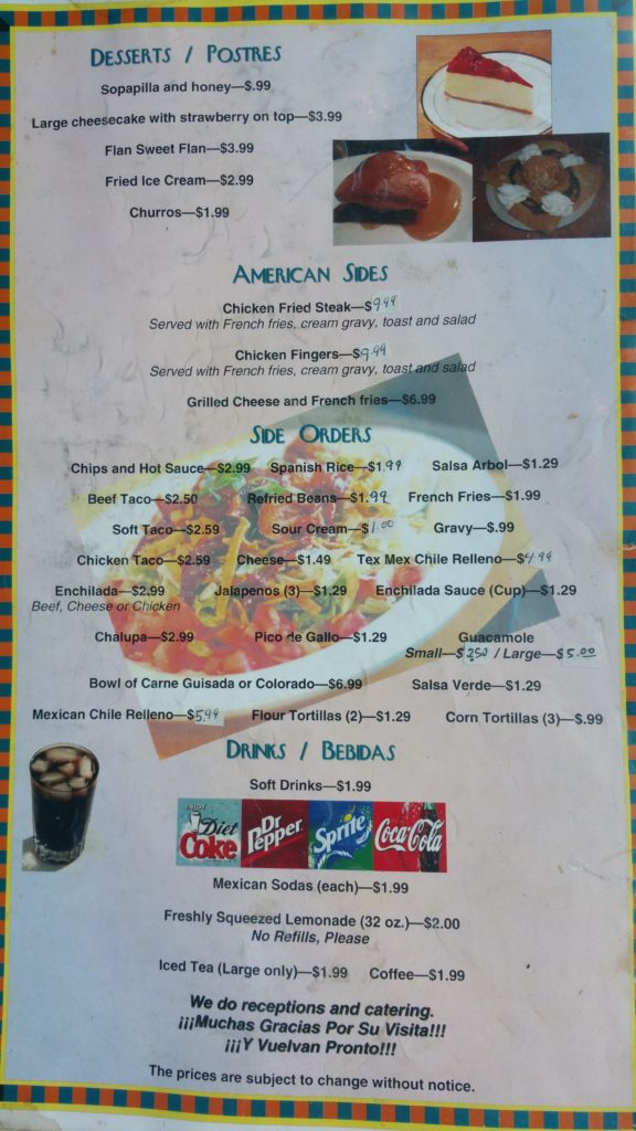 View El Patio Mexican Restaurant S Menu Below 1