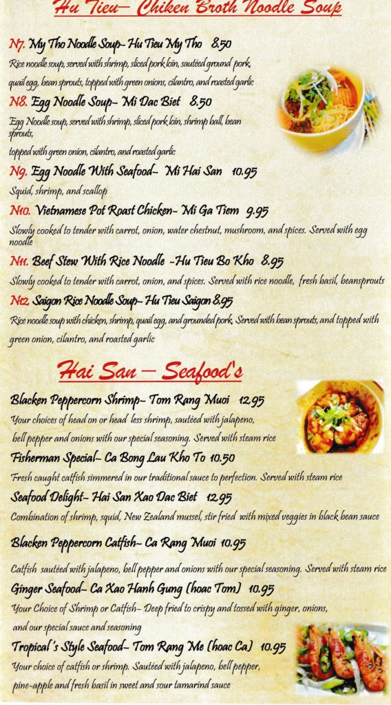 Thai Restaurant Menu Items