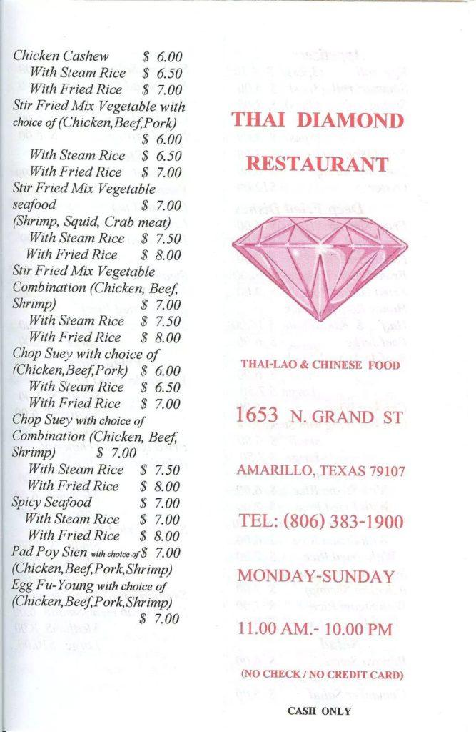 Thai Diamond Menu